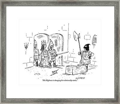A Guard Leading A Queen Speaks To An Executioner Framed Print by David Sipress