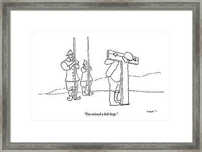 A Guard Talks To A Prisoner In The Stockade Framed Print by Michael Shaw