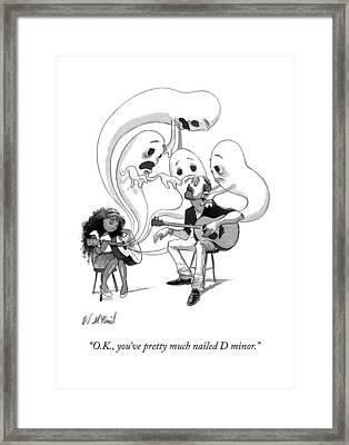 A Guitar Teacher Speaks To His Student Framed Print
