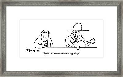 A Guitarist At A Bar Speaks To The Drinker Framed Print by Charles Barsotti