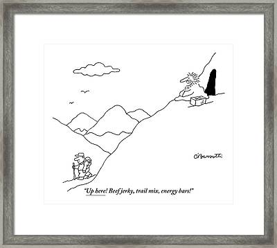 A Guru Is Seen Calling Out To A Hiker Walking Framed Print by Charles Barsotti