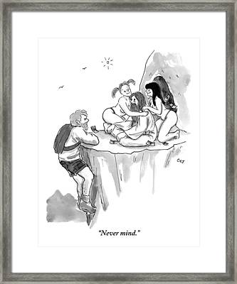 A Guru Is Sitting Outside A Cave With Two Naked Framed Print by Carolita Johnson
