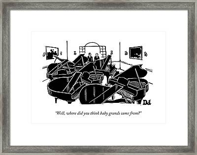 A Guy Talks To Another Guy In A Room Of Seven Framed Print by Drew Dernavich
