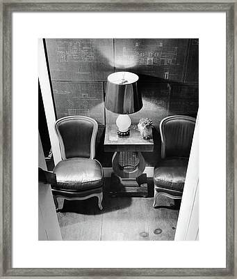A Hallway With Blueprints Framed Print by  Lofman