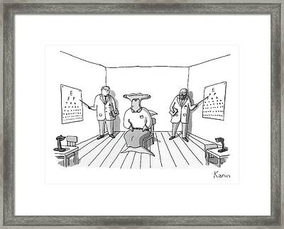 A Hammerhead Shark Gets His Eyesight Check By Two Framed Print