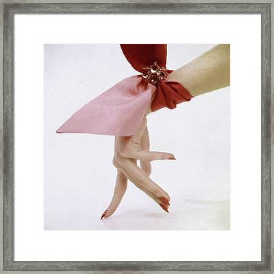 A Hand With A Wrist Scarf Framed Print by Clifford Coffin