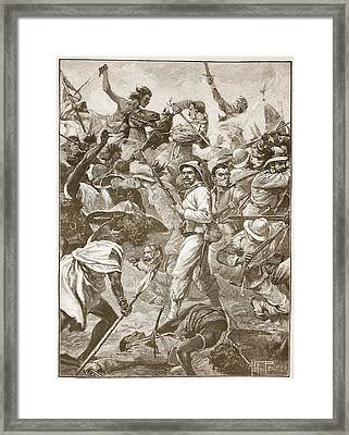 A Handful Of Bersaglieri Holding An Framed Print by Alfred Pearse
