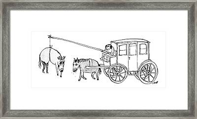 A Handsome Cab Driver Dangles A  Horse In High Framed Print