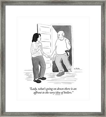 A Handyman Comes Up The Stairs From A Basement Framed Print by Emily Flake