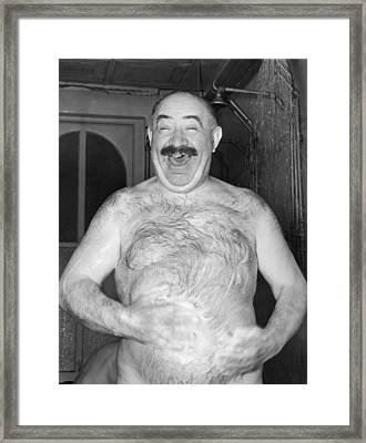 A Happy Shower Man Framed Print by Underwood Archives