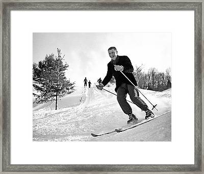 A Happy Skier In Vermont Framed Print by Underwood Archives