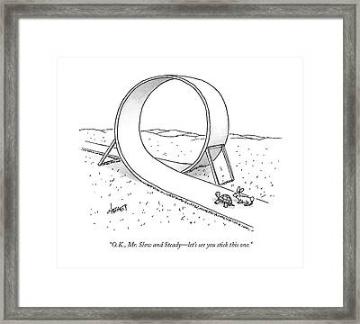 A Hare Speaks To A Tortoise As They Are Standing Framed Print by Tom Cheney