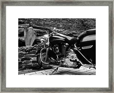 A Harley Davidson And The Virgin Mary Framed Print by Andy Prendy