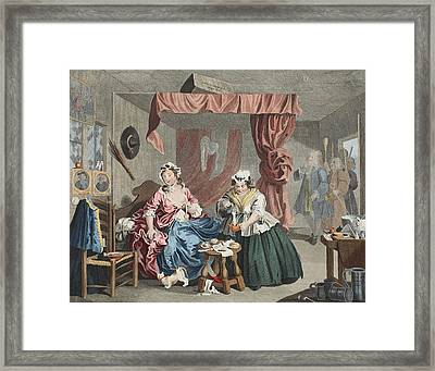 A Harlots Progress, Plate Lll Framed Print by William Hogarth