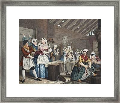 A Harlots Progress, Plate Lv Scene Framed Print by William Hogarth
