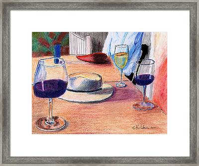 A Hat And Wine Framed Print