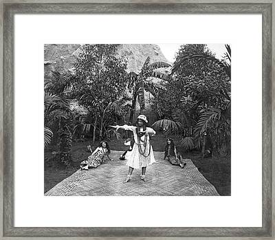 A Hawaiian Woman Dancing Framed Print by Underwood Archives