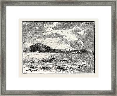 A Hayfield At Marlow Framed Print by English School