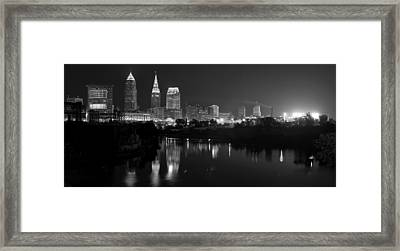 A Hazy Cleveland Night At Progressive Field Framed Print by Clint Buhler