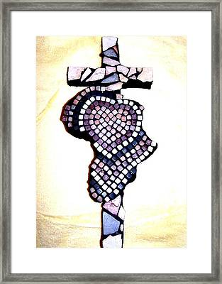A Heart For Africa Cross Framed Print