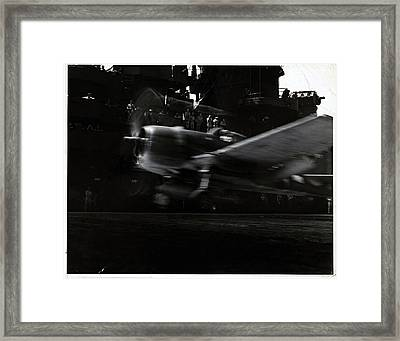 A Hellcat Airplane In Flight Framed Print