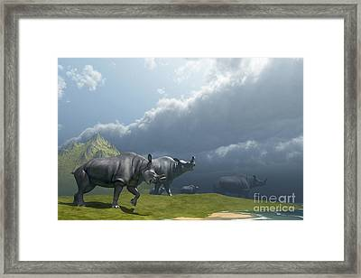 A Herd Of Brontotherium Dinosaurs Come Framed Print by Corey Ford