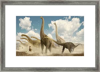 A Herd Of Sauropods Migrating Together Framed Print by Jan Sovak