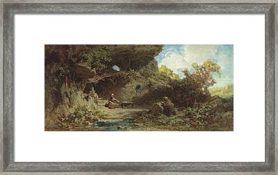 A Hermit In The Mountains Framed Print by Carl Spitzweg