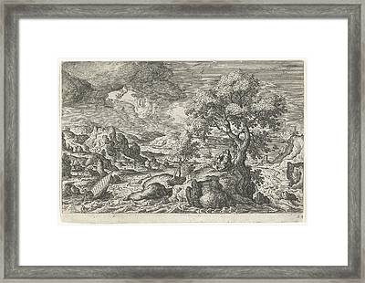 A Hermit Who In The Company Of A Bird Lives On A Small Framed Print