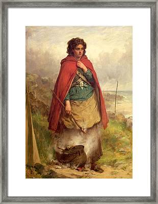 A Highland Gypsy, 1870 Oil On Canvas Framed Print