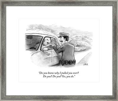 A Highway Police Officer Pulls Over And Plays Framed Print by Jason Adam Katzenstein