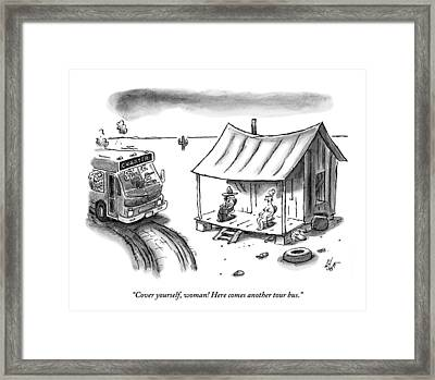A Hillbilly And His Naked Wife Sit On A Porch Framed Print by Frank Cotham