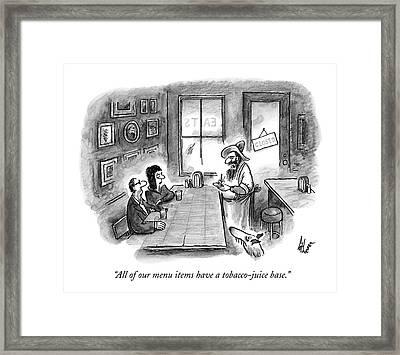 A Hillbilly Bartender Addresses Two Customers Framed Print by Frank Cotham