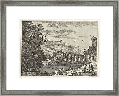 A Hilly Landscape Is Crossed By A River, Over The River Framed Print