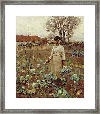 A Hinds Daughter, 1883 Oil On Canvas Framed Print by Sir James Guthrie