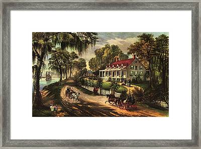 A Home On The Mississippi Framed Print by Currier and Ives