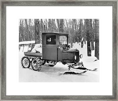 A Homemade Snowmobile Framed Print