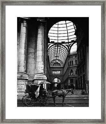 A Horse And Cart By The Galleria Umberto Framed Print
