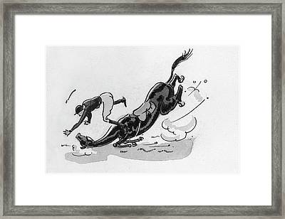 A Horse And Jockey Falling Framed Print