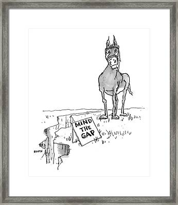 A Horse Approaches A Large Crack In The Ground Framed Print by George Booth