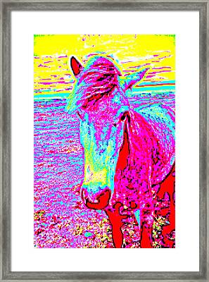 A Horse Comes To Me In A Dream Tells Me To Stay With Her  Framed Print by Hilde Widerberg