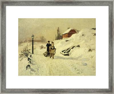 A Horse Drawn Sleigh In A Winter Landscape Framed Print by Fritz Thaulow