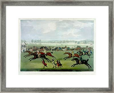 A Horse Race Framed Print by British Library