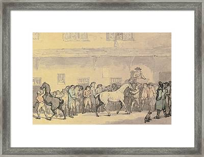 A Horse Sale At Hopkins' Repository Framed Print by Celestial Images