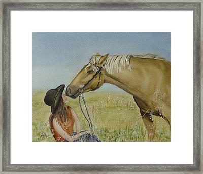 A Horses Gentle Touch Framed Print