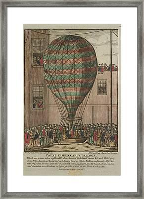 A Hot Air Balloon At Tottenham Court Road Framed Print
