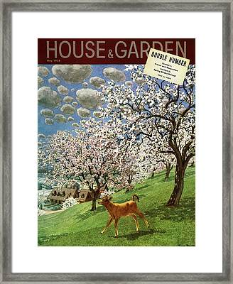 A House And Garden Cover Of A Calf Framed Print by Pierre Brissaud