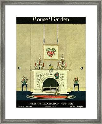 A House And Garden Cover Of A Fireplace Framed Print