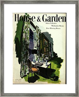 A House And Garden Cover Of A Living Room Framed Print