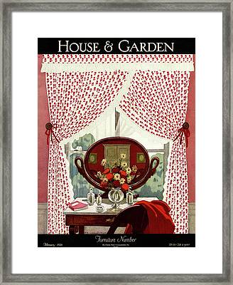 A House And Garden Cover Of A Mirror Framed Print